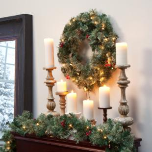 24 in. Classic Pine Pre-lit Wreath with Berries and Pine Cones
