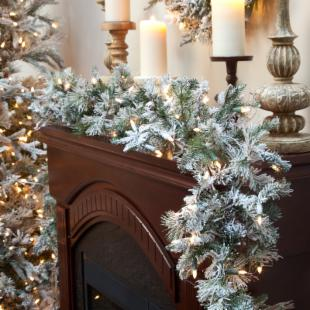 9 ft. Frosted Whistler Fir Pre-Lit Garland