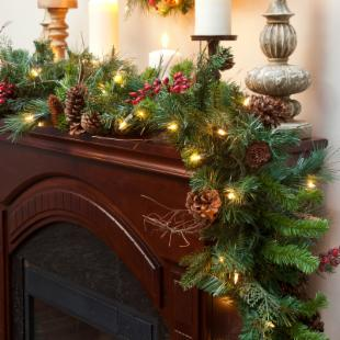 9 ft. Cibola Mix Pre-Lit Garland