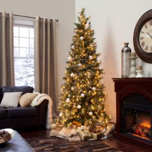 7.5 ft. Glittery Gold Pine Pre-Lit Slim Christmas Tree