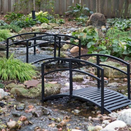 Outdoor steel 6 ft garden bridge with arched tails for Decorative fish pond bridge