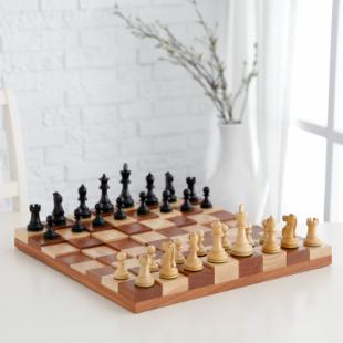 3D Tiered Solid Sapele Wood Chess Set - Black Stained