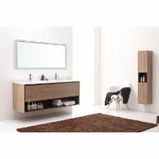 63 in. Restored Khaki Wood Vanity Set