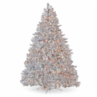 Classic Silver Full Pre-lit Christmas Tree - 7.5 ft. - Clear