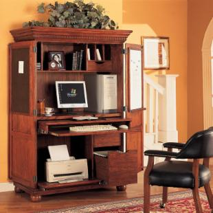 Sunrise Computer Armoire - Traditional Oak