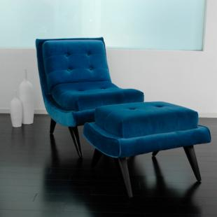Armen Living Retro Blue 5th Avenue Accent Chair &amp; Ottoman