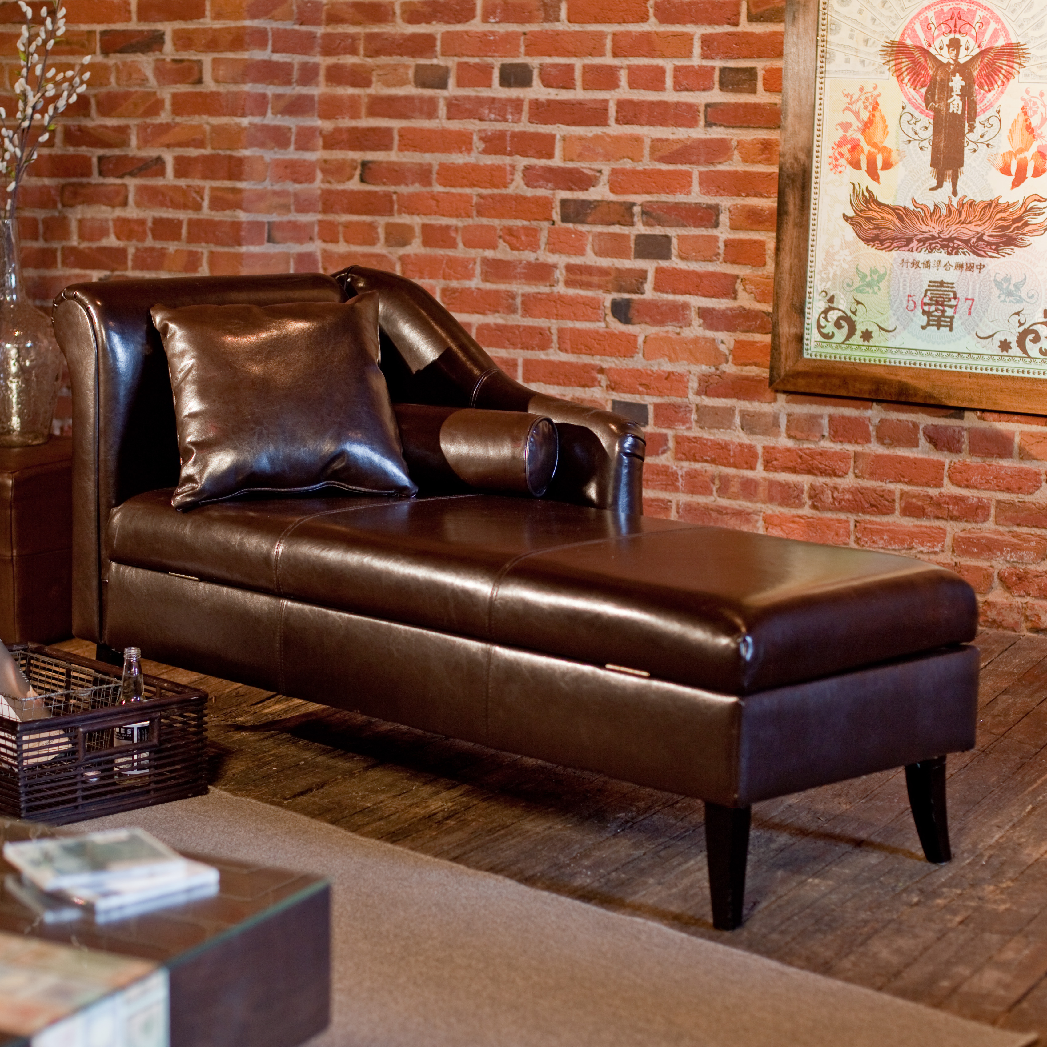 Rolland Leather Storage Chaise Lounge At Hayneedle