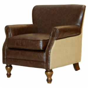 Armen Living Antique Brown Club Chair with Natural Jute and Accent Nails