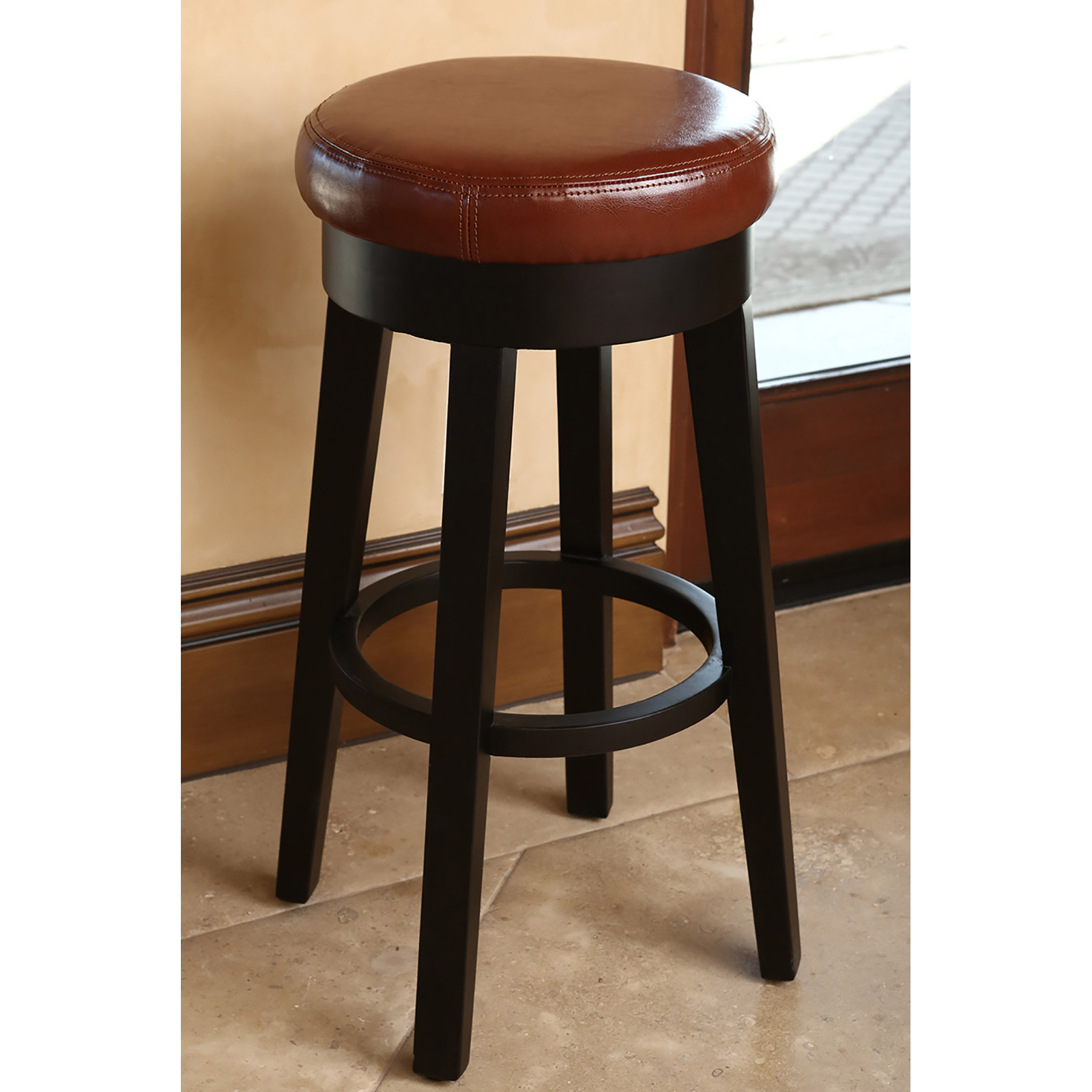 abbyson living willow leather backless counter stool bar stools at hayneedle. Black Bedroom Furniture Sets. Home Design Ideas