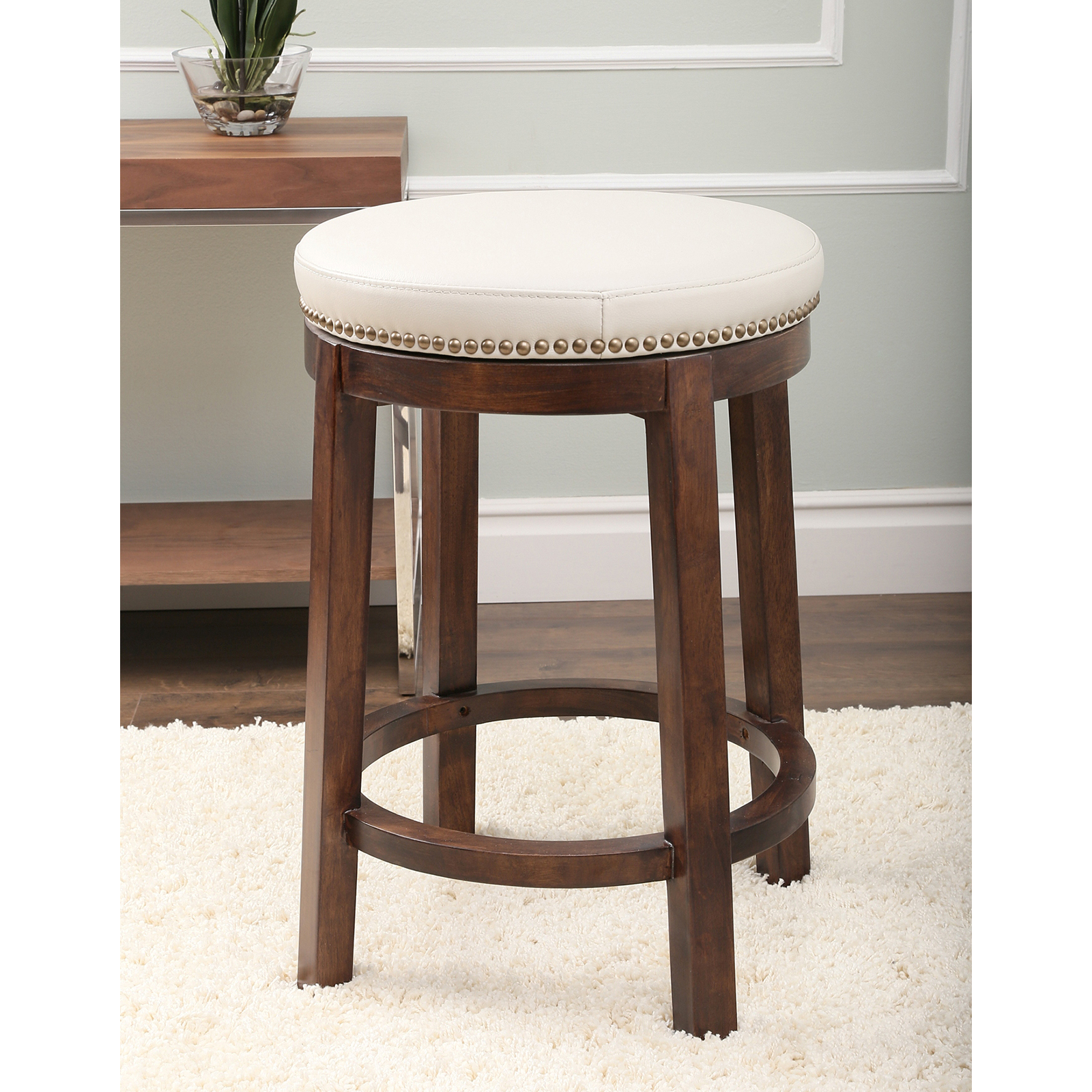 abbyson living monica pedersen shawnee round swivel leather backless counter stool bar stools. Black Bedroom Furniture Sets. Home Design Ideas