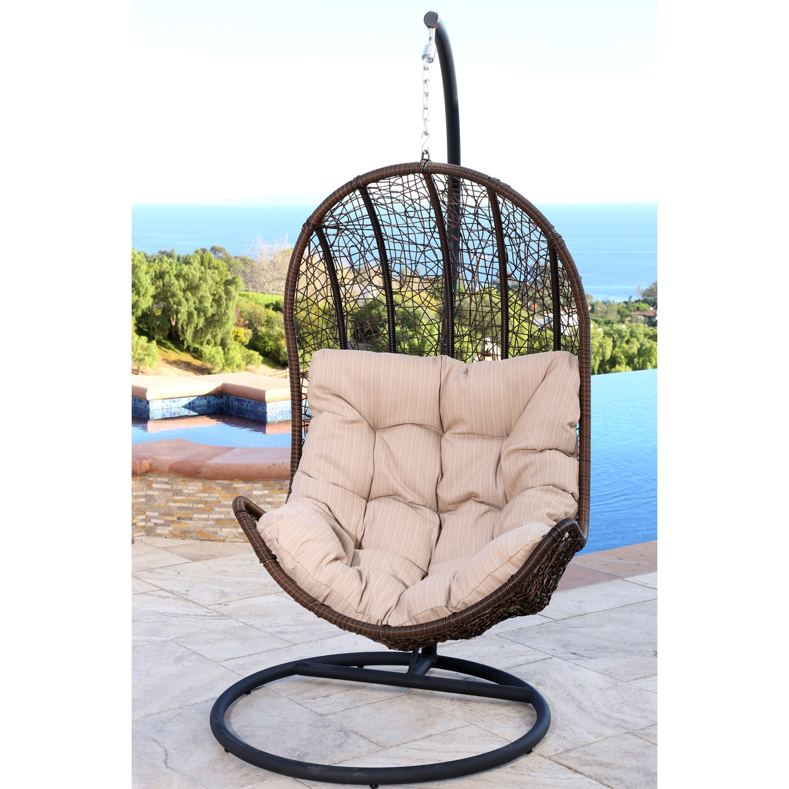 Abbyson Living Cate Outdoor Wicker Egg Shaped Swing Chair