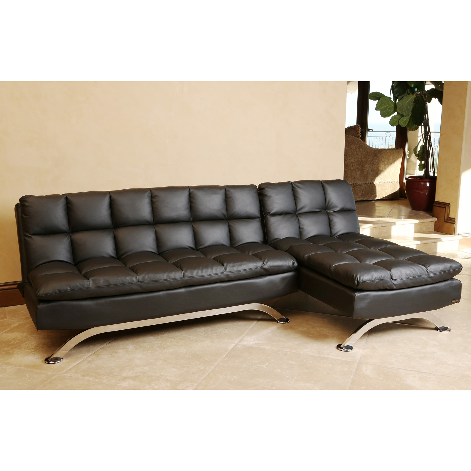 Abbyson Living Vienna Black Leather Sofa Bed And Chaise