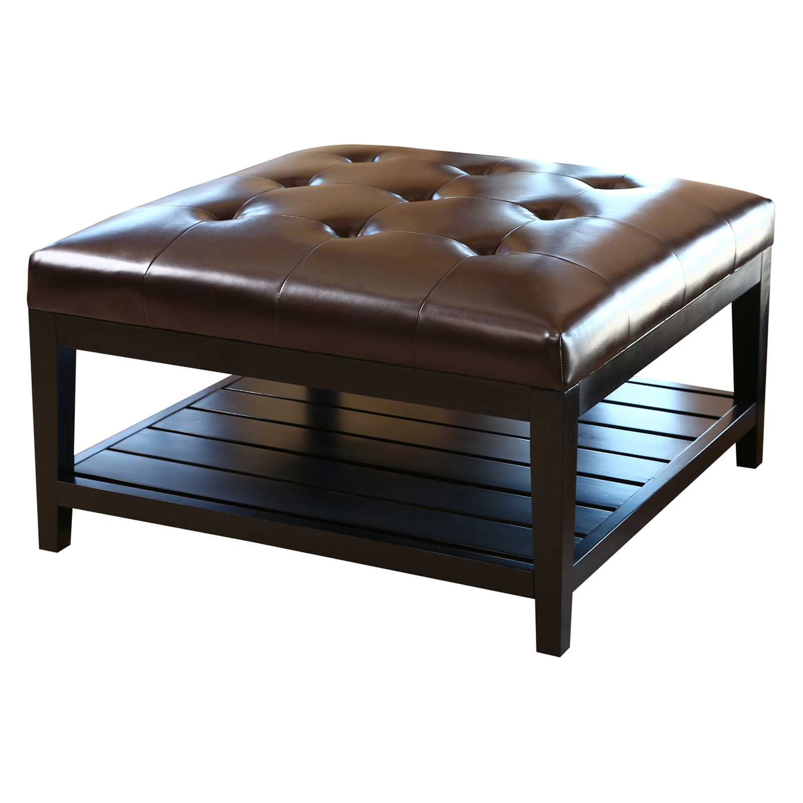 Abbyson living villagio tufted leather square coffee table ottoman dark brown ottomans at Leather tufted ottoman coffee table