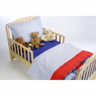 American Baby Company Toddler Bedding Set - Chambray Blue &amp; Red Patchwork