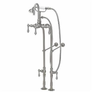 American Bath Factory Floor Mount Tub Faucet with Hand Held Shower - 3 3/8 in. Centers