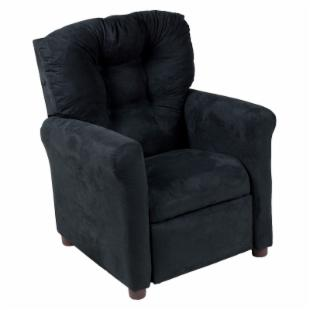Traditional Microfiber Childrens Recliner - Black