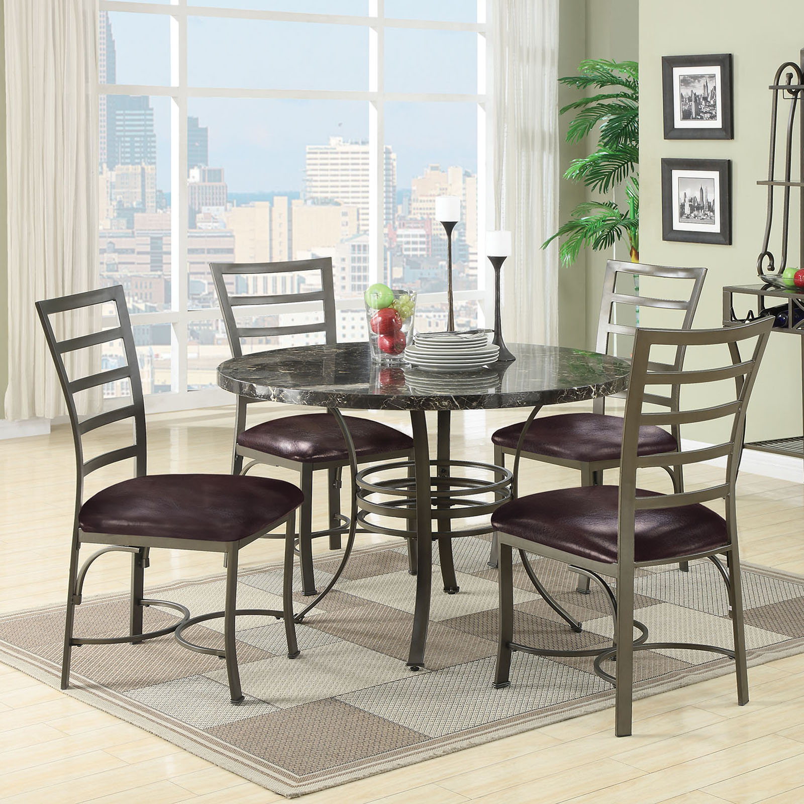 Acme Furniture Daisy 5 Piece Round Faux Marble Dining