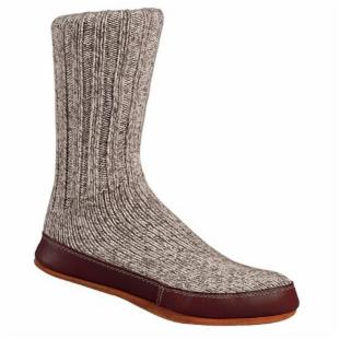 Acorn Mens and Womens Grey Ragg Wool Slipper Sock Slippers