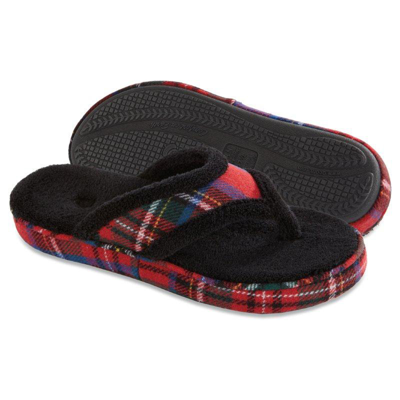 Acorn Womens Cate Spa Flip Flop Slippers Black At Hayneedle