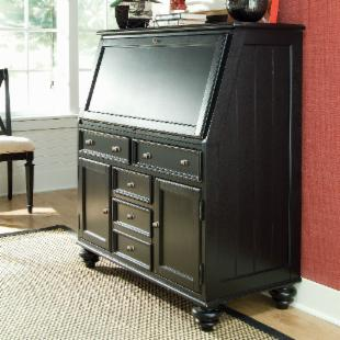 Camden Drop Lid Secretary Desk - Black