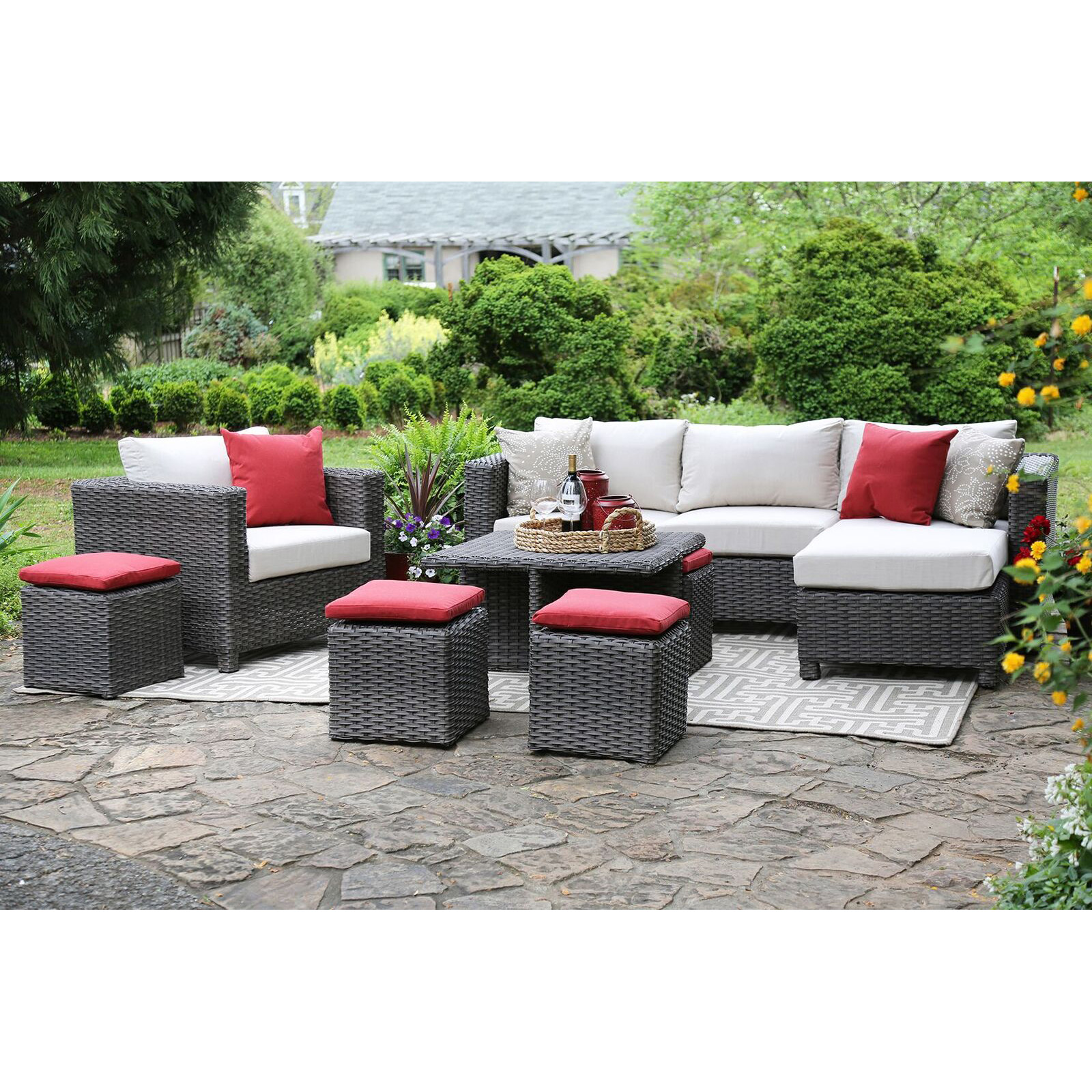 Ae Outdoor Carson 8 Piece Deep Seating All Weather Wicker