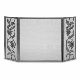 Cast Sunflower Tri-Panel Fireplace Screen