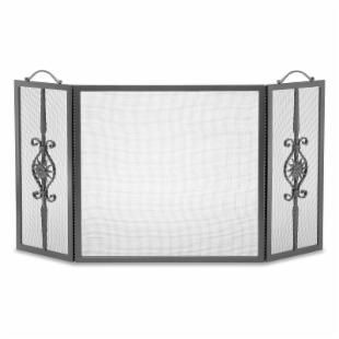 Cast Forged Sun Tri-Panel Fireplace Screen