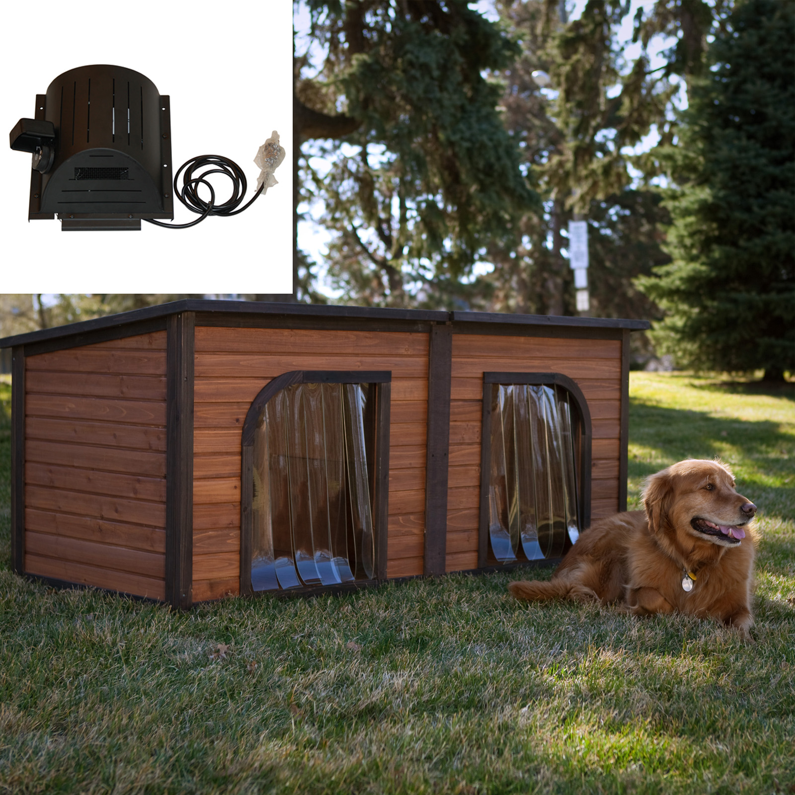 Precision pets extreme duplex dog house with cooling fan for Extreme dog houses