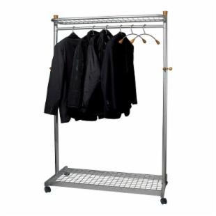 Alba Modern Mobile Garmet Rack With Hangers and Umbrella Storage