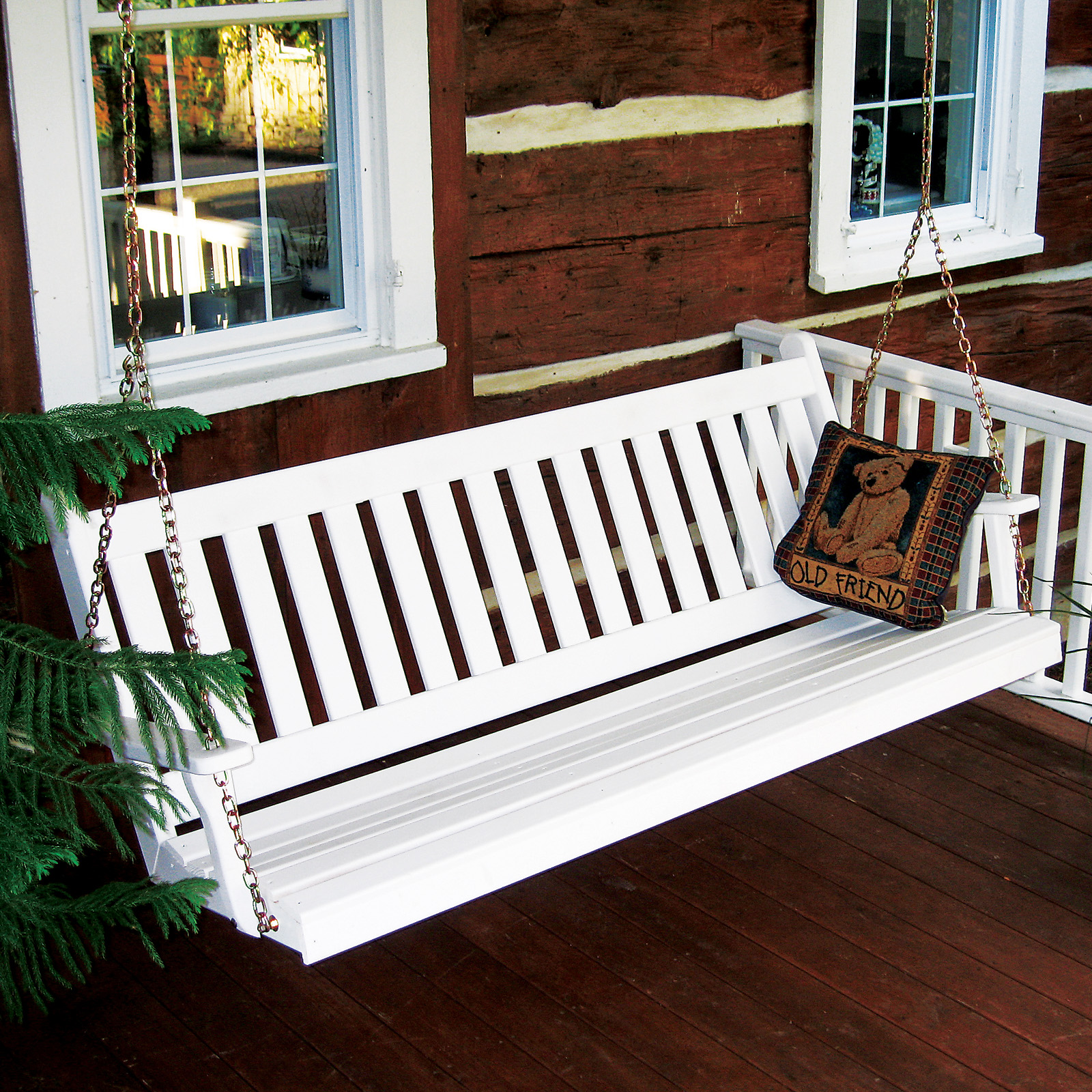 a l furniture yellow pine traditional english porch swing porch swings at hayneedle. Black Bedroom Furniture Sets. Home Design Ideas
