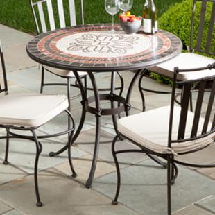 Alfresco Home Orvieto 36 in Round Mosaic Cafe Dining Table