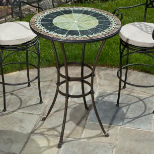 Alfresco Home Ponte 30 in. Round Mosaic Bar Height Bistro Table