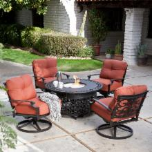 Palazetto San Miguel Cast Aluminum Chat Set with Fire Pit- Seats 4