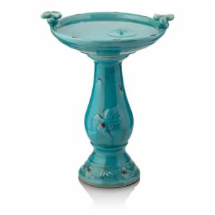 Alpine Antique Light Turquoise Ceramic Bird Bath with 2 Birds