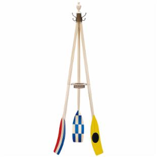 Multicolor Oar Wooden Coat Rack with Flags