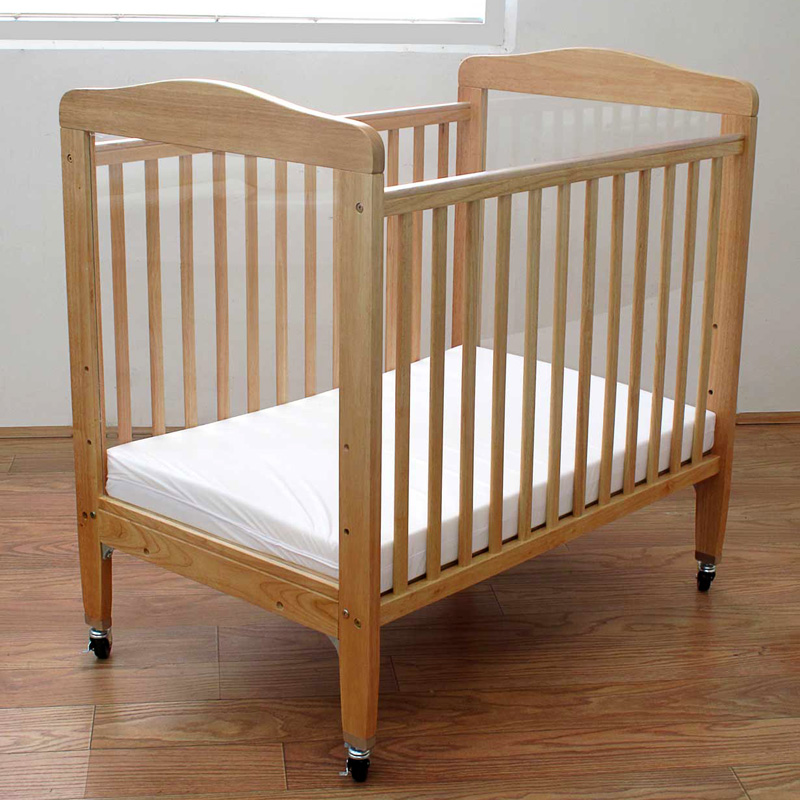 La Baby Compact Wood Non Folding Crib With 3 In Mattress Natural Cribs At Hayneedle