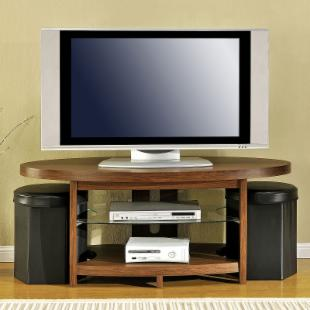 Ameriwood Elliptical TV Stand with Ottomans