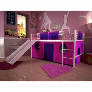 Junior Fantasy Loft with Slide - White