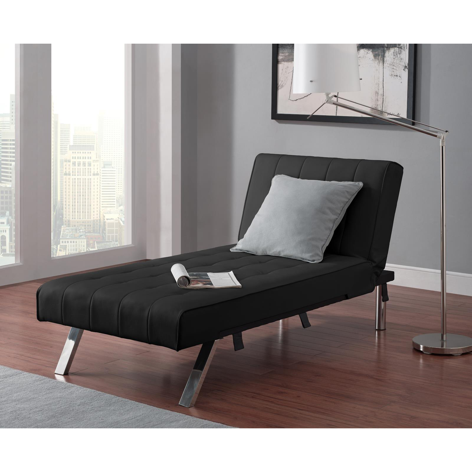 Dhp emily faux leather chaise lounge indoor chaise for Chaise lounge contemporary