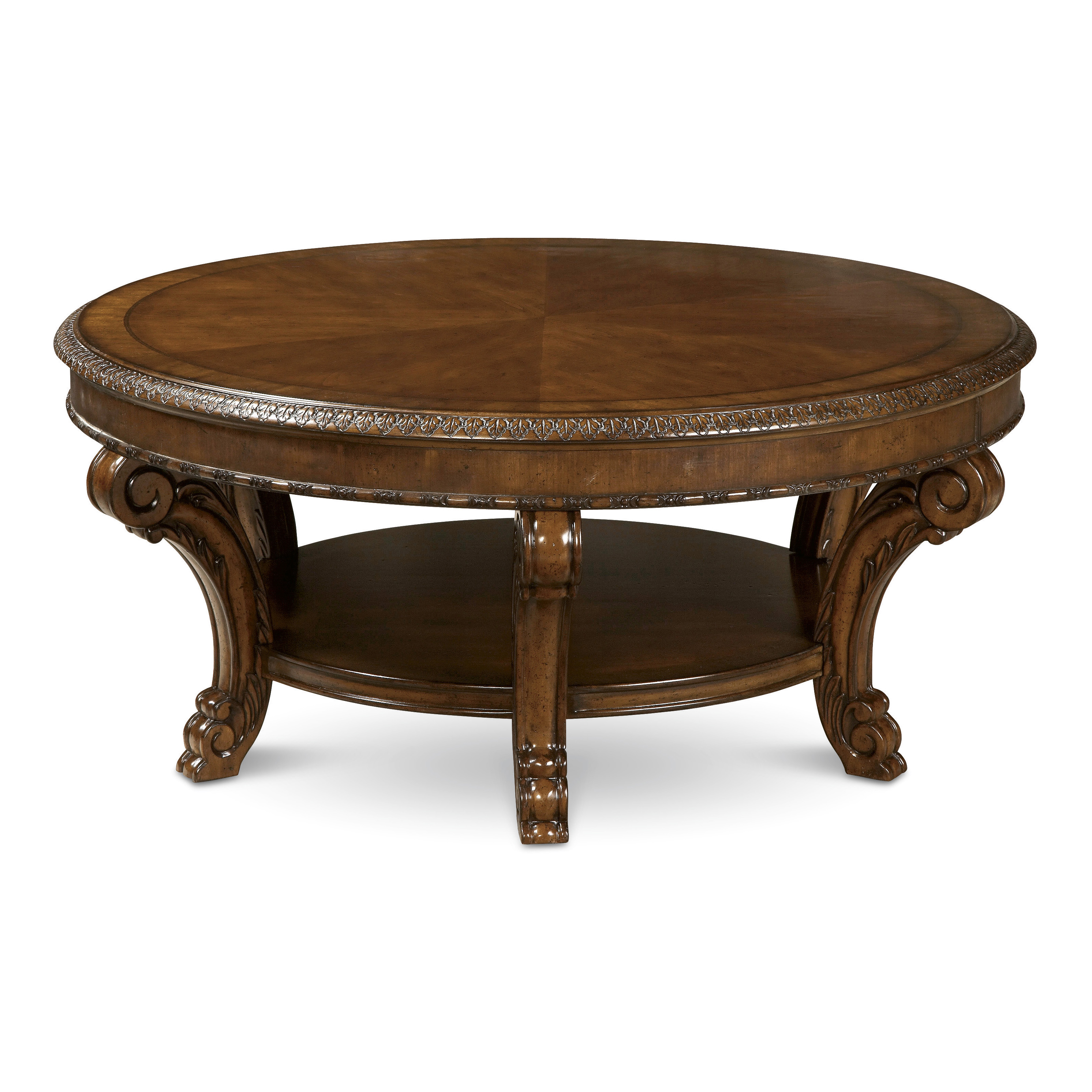 A r t furniture old world round coffee table What to put on a round coffee table