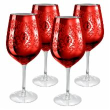  Artland Inc. Red Brocade Goblet Glasses- Set of 4