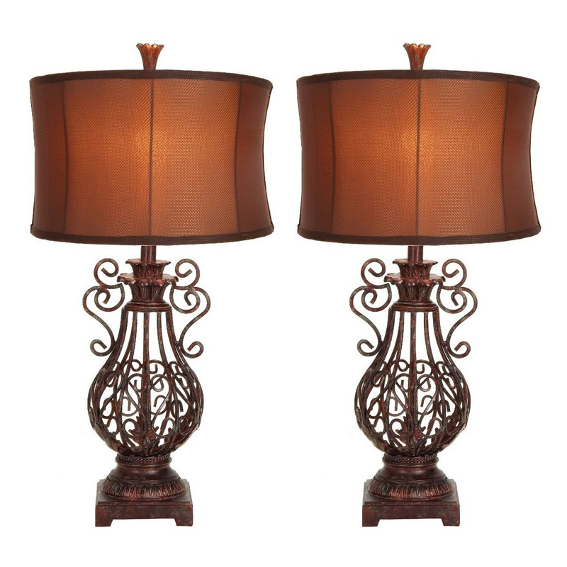 aspire waleis wrought iron table lamp set at hayneedle. Black Bedroom Furniture Sets. Home Design Ideas