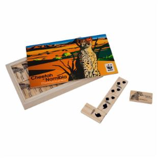 African Cheetah Wood Dominoes Game
