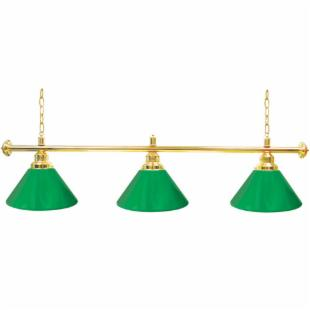 4800G-GRN Premium 3-Light Green and Gold Pool Table Light - 60W in.