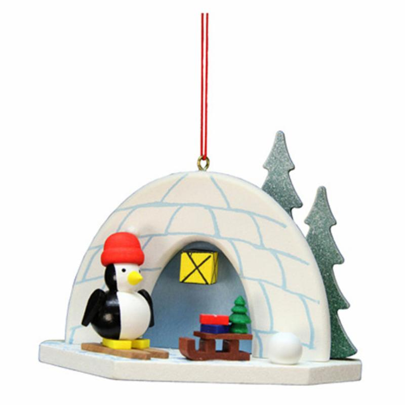 Christian Ulbricht 3.5 in. Igloo with Penguin Ornament ATI1501-1