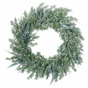 24 in. Flocked Juniper Berry Wreath
