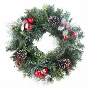 24 in. Holly Leaf Christmas Wreath