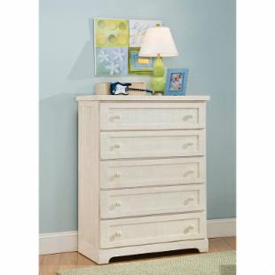 Casual Wood Weathered White 5-Drawer Chest