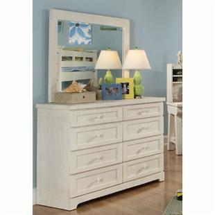 Casual Wood Weathered White 8-Drawer Dresser