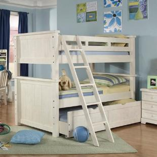 Casual Wood Weathered White Twin over Twin Bunk Bed